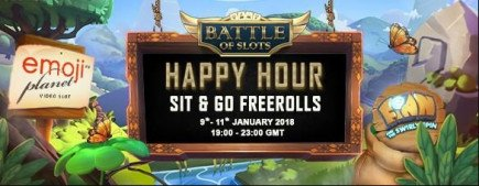Start your new casino year off on a happy note with Happy Hour Freeroll Battles!