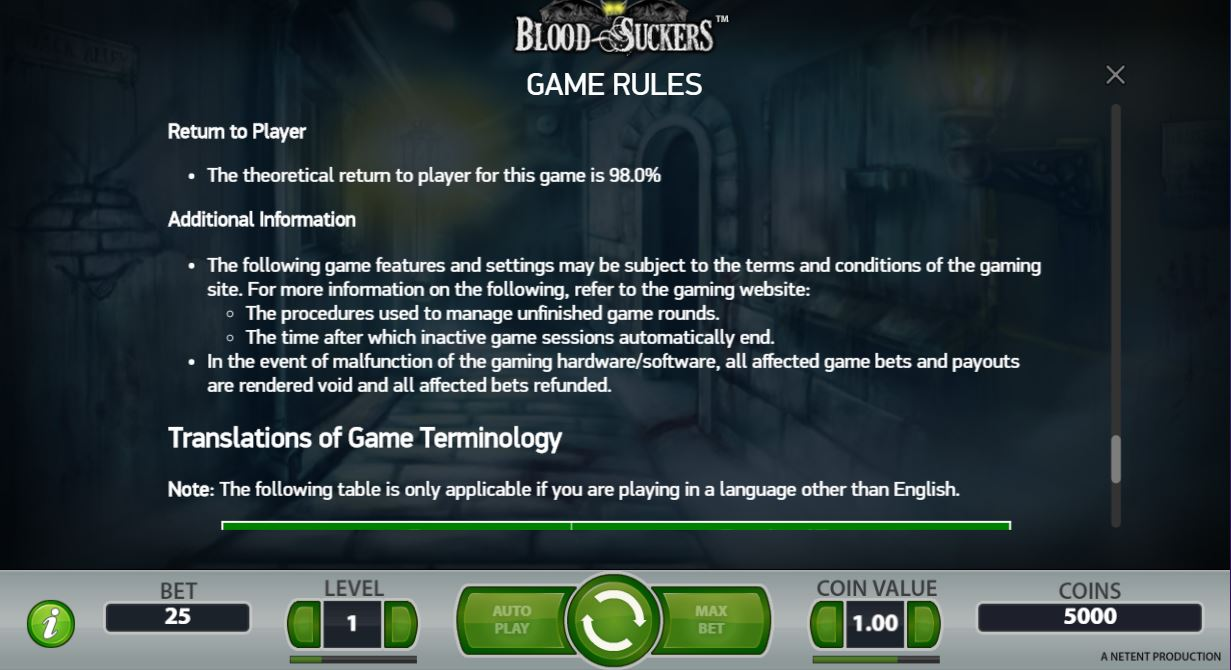 Blood Suckers Game Rules (RTP)